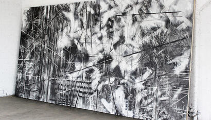 Mauro Giaconi. If only I could float, at least a little more, 2013. graphite, eraser and detergent on MDF. 216 x 72 inches.