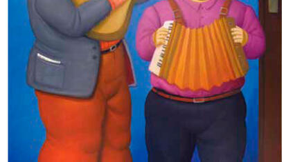 Fernando Botero Dos musicos, 2010 Oil on canvas 78 3/4 x 53 3/4 inches