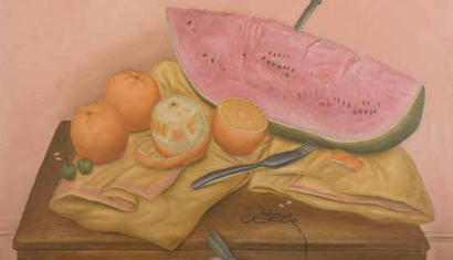Fernando Botero. Still life with watermelon and oranges, 1970. Oil on canvas - 71 x 71 inches.