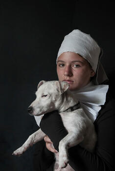 The girl with the white dog