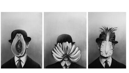 Gonzalo Fuenmayor Mister Tutti-Frutti (triptych), 2018. Charcoal on paper. 30 x 22.5 inches (each).