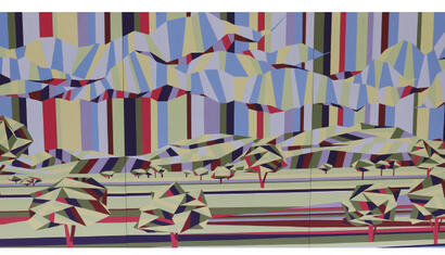 Pepa Curriu Landscape, 2015. Acrylic on wood. (Triptych). 43.31 x 94.48 inches.