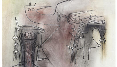 Wifredo Lam Untitled, 1973. Oil on canvas. 28 x 39 inches.