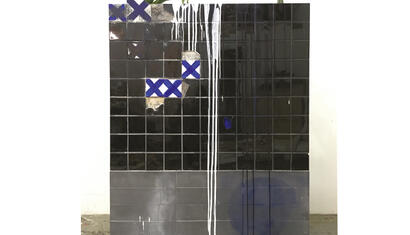 C.J. Chueca I Am The River Behind The Wall (Body at the Andes), 2018. Ceramic tiles, acrylic on wood and plants. 48 x 60 inches.