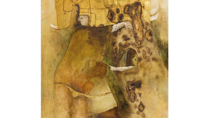 Benjamin Cañas Untitled, 1969. Mixed media with gold leaf on paper